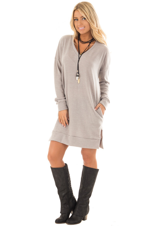 Grey Taupe Solid Sweater Tunic Dress with Side Pockets front full body