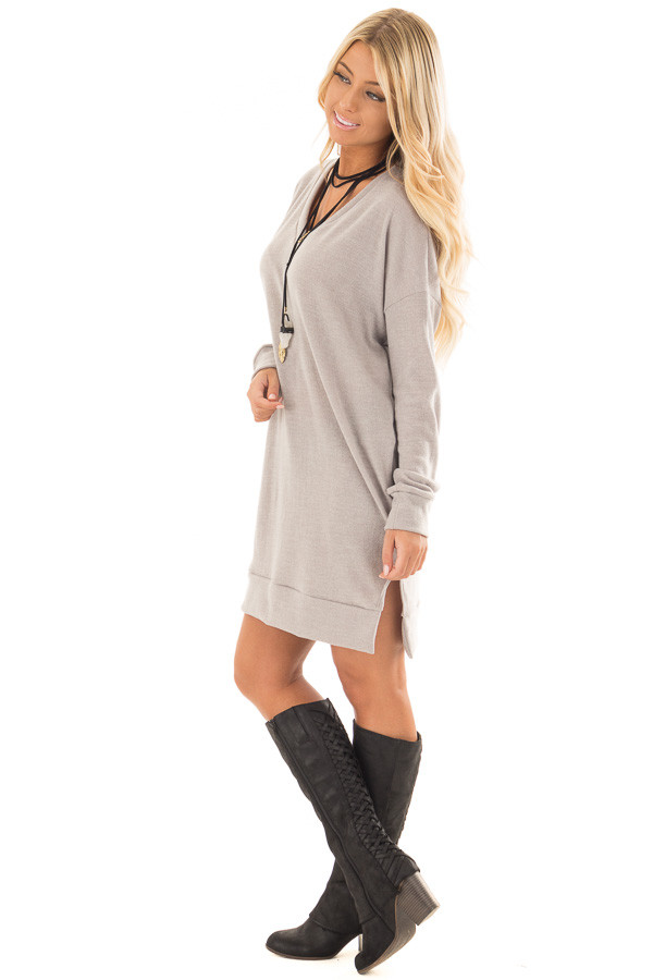 Grey Taupe Solid Sweater Tunic Dress with Side Pockets side full body