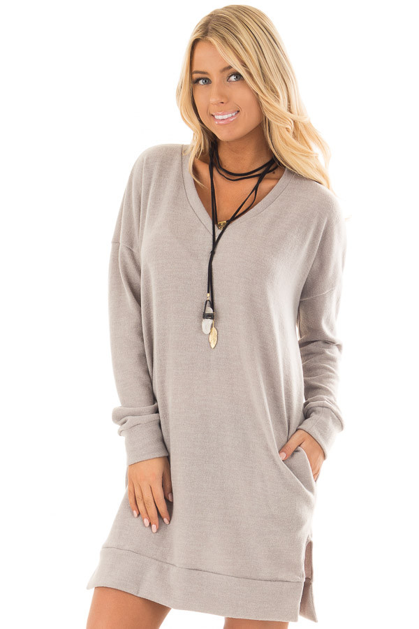 Grey Taupe Solid Sweater Tunic Dress with Side Pockets front close up