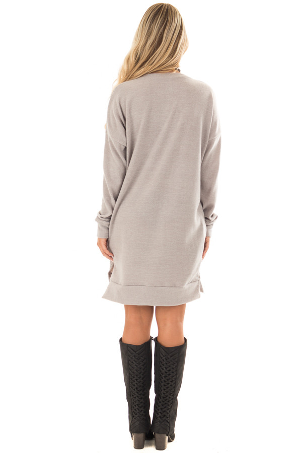 Grey Taupe Solid Sweater Tunic Dress with Side Pockets back full body