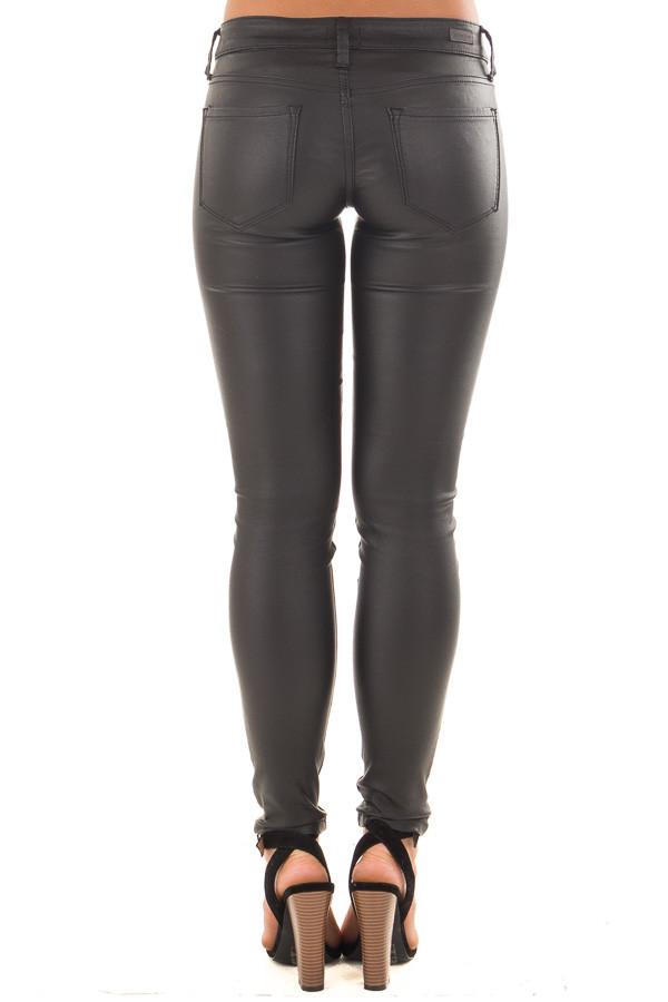 Black Faux Leather Skinny Jegging back view