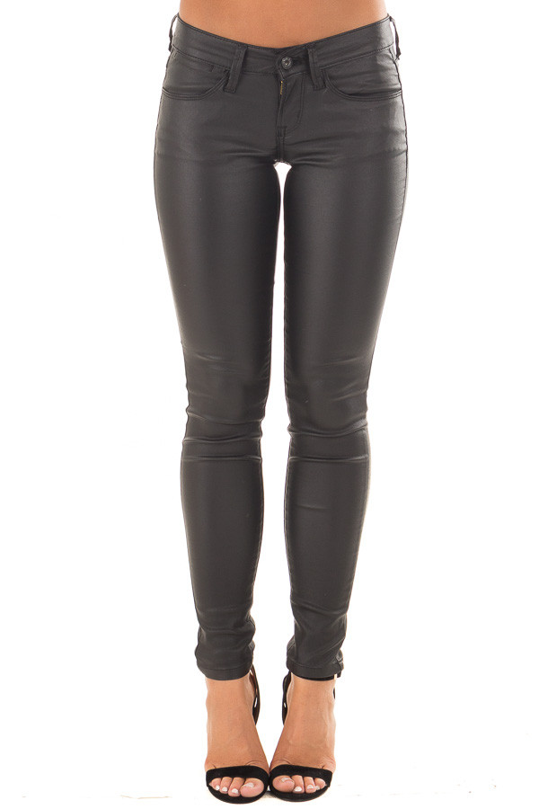 Black Faux Leather Skinny Jegging front view