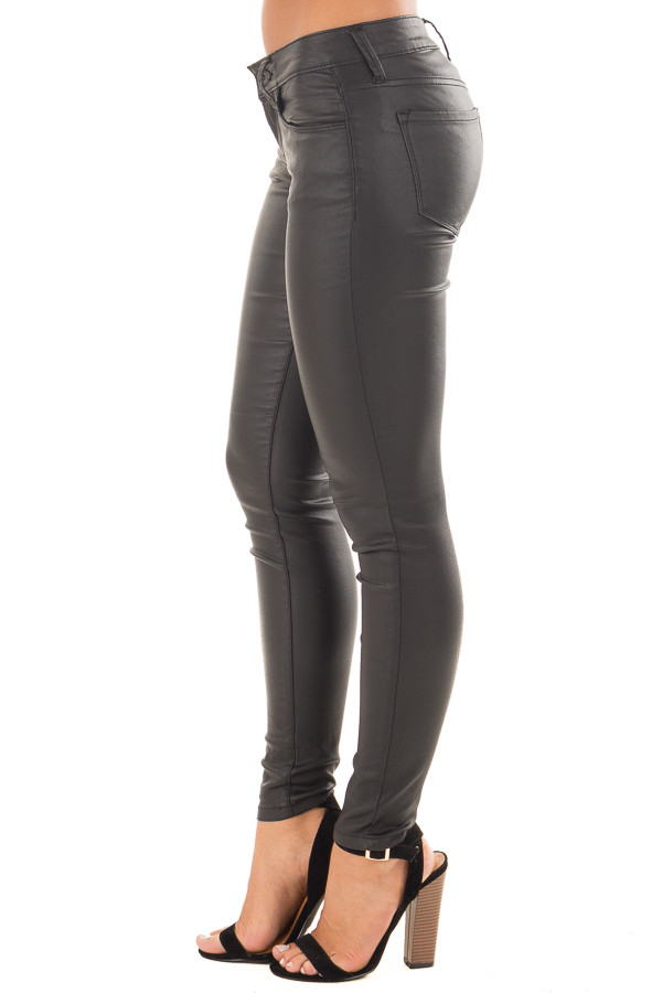 Black Faux Leather Skinny Jegging side view