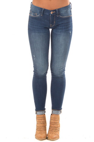 Blue Denim Lightly Distressed Jegging front view