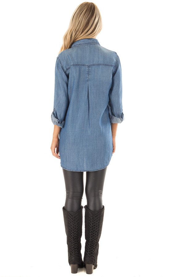 Medium Wash Denim Blouse with Roll Up Sleeves back full body
