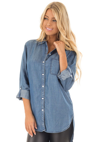 Medium Wash Denim Blouse with Roll Up Sleeves front close up
