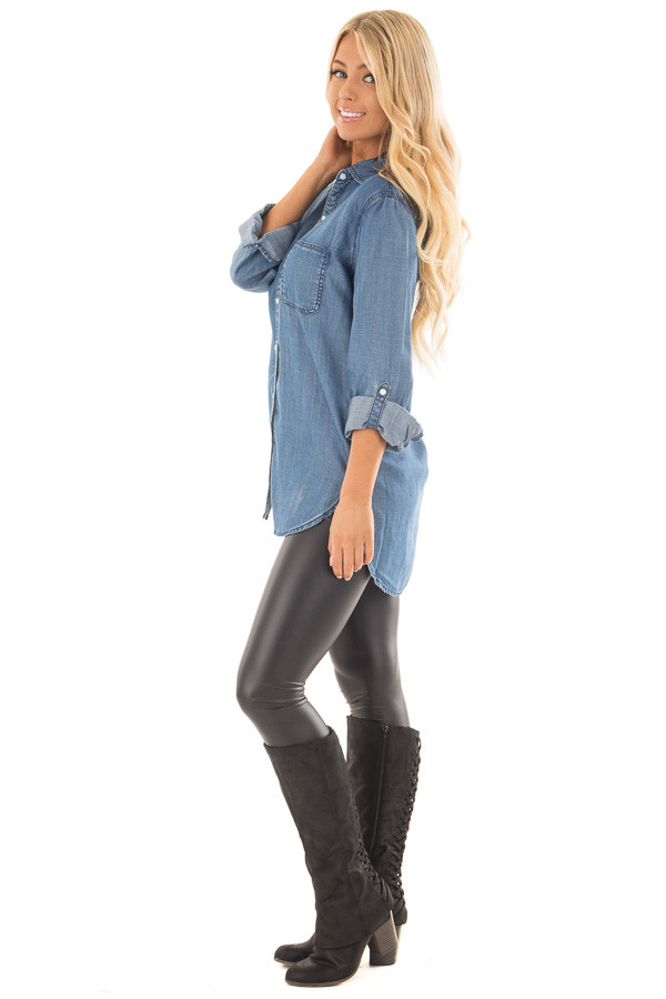 Medium Wash Denim Blouse with Roll Up Sleeves side full body