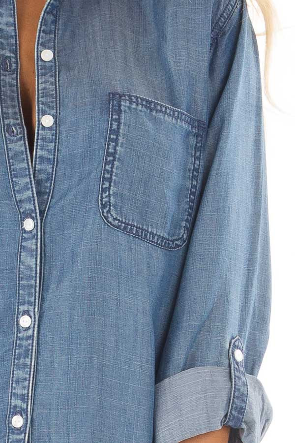 Medium Wash Denim Blouse with Roll Up Sleeves detail