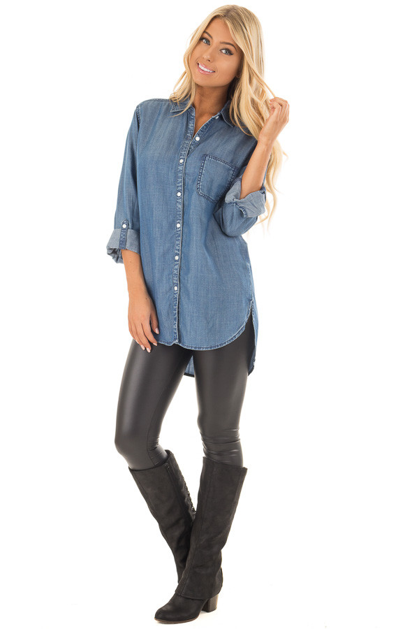 Medium Wash Denim Blouse with Roll Up Sleeves front full body