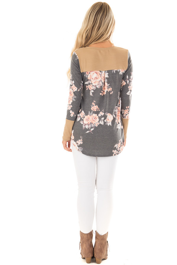 Charcoal Floral Print Top with Camel Faux Suede Contrast back full body
