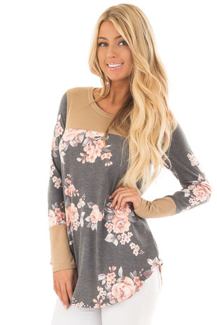 Charcoal Floral Print Top with Camel Faux Suede Contrast front close up