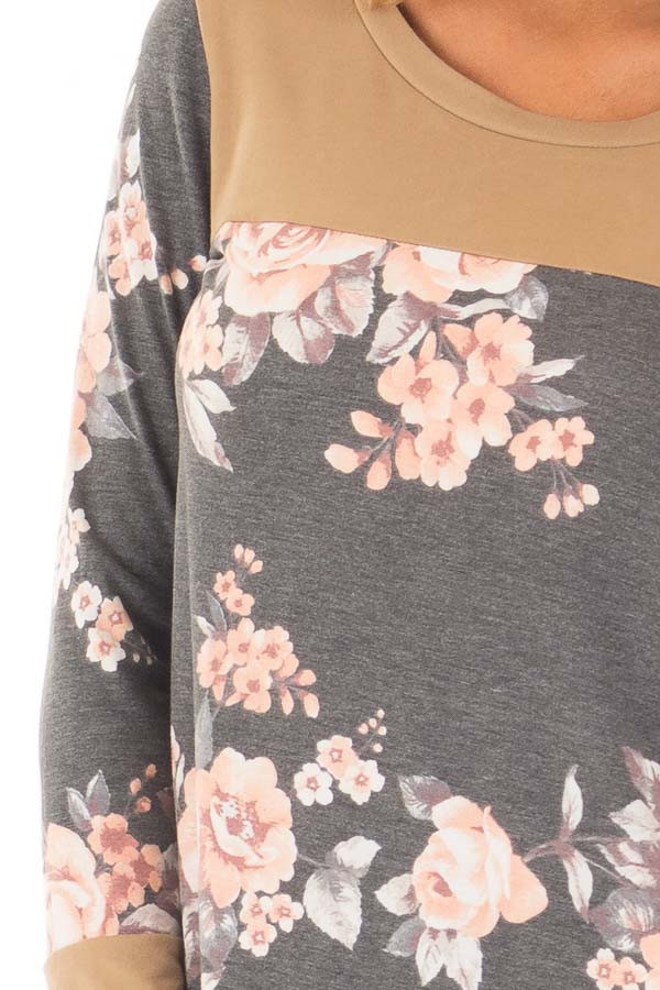 Charcoal Floral Print Top with Camel Faux Suede Contrast detail