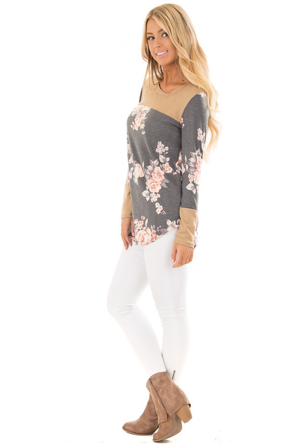 Charcoal Floral Print Top with Camel Faux Suede Contrast side full body