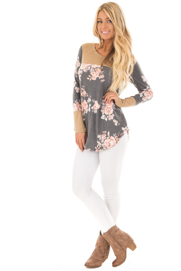 Charcoal Floral Print Top with Camel Faux Suede Contrast front full body