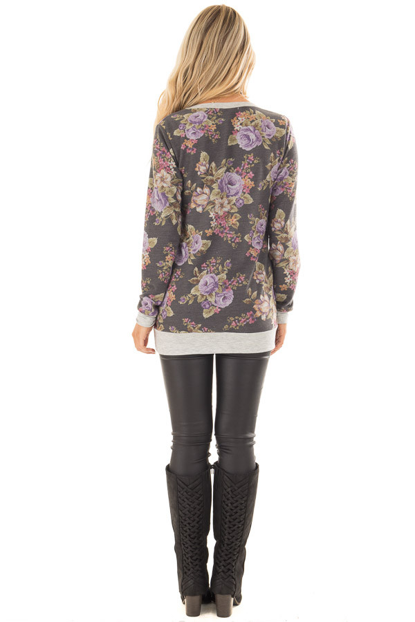 Charcoal and Lavender Floral Print Long Sleeve Top back full body