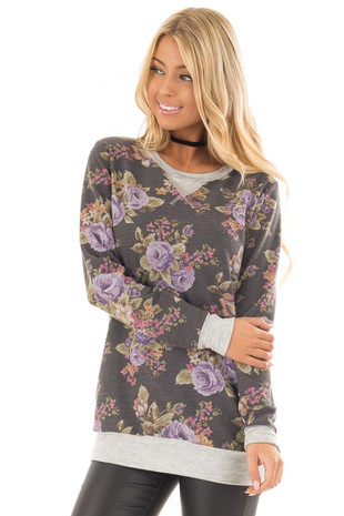 Charcoal and Lavender Floral Print Long Sleeve Top front close up