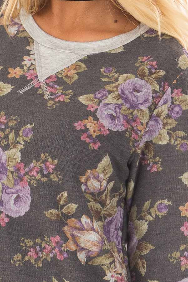 Charcoal and Lavender Floral Print Long Sleeve Top detail