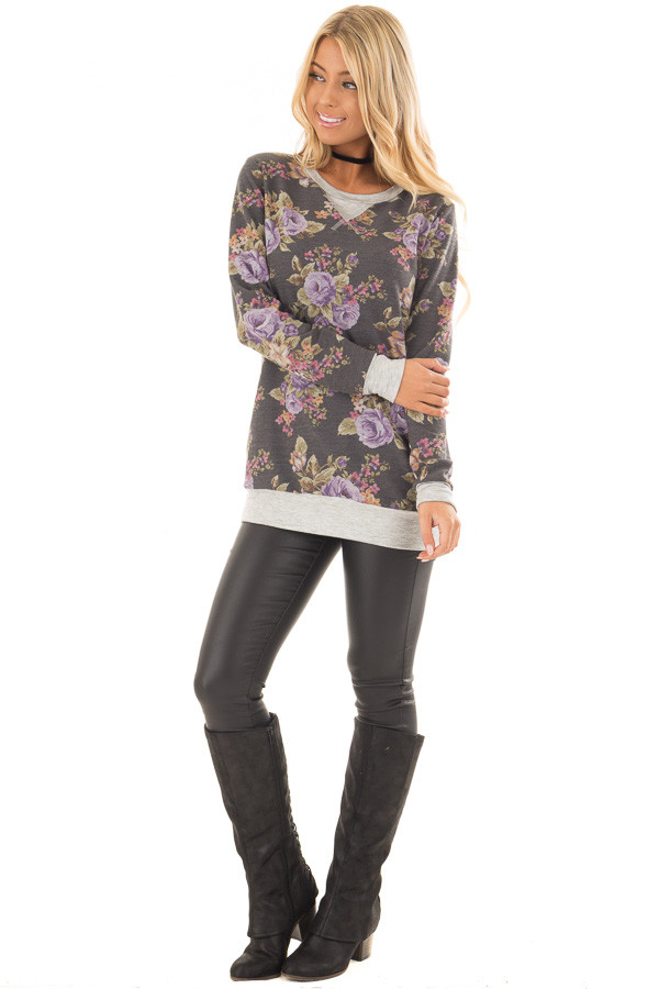 Charcoal and Lavender Floral Print Long Sleeve Top front full body