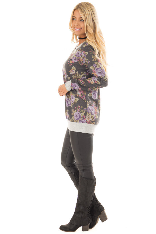 Charcoal and Lavender Floral Print Long Sleeve Top side full body