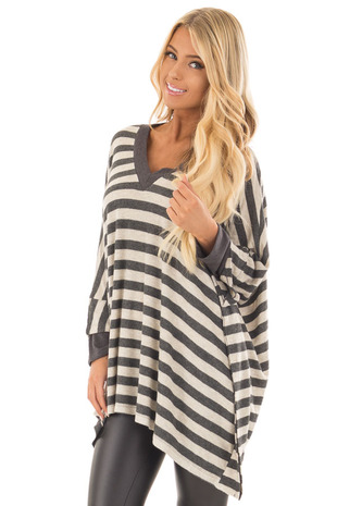 Oatmeal and Charcoal Striped Poncho Style V Neck Top front close up