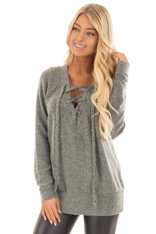 Olive Super Soft Lace Up V Neck Long Sleeve Top front close up