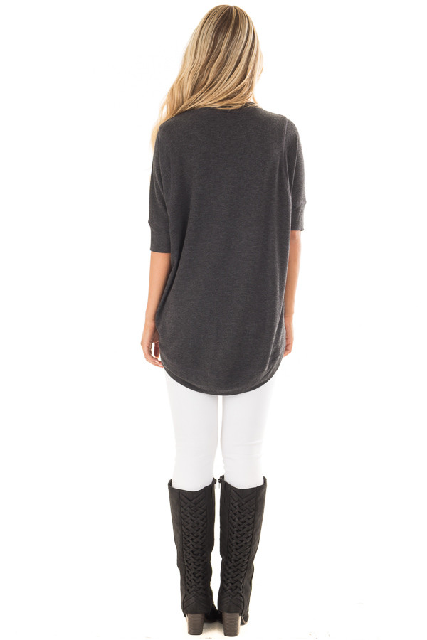 Charcoal Half Sleeve Dolman Sweater with Rounded Hem back full body