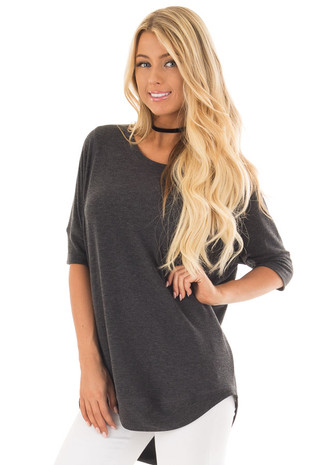 Charcoal Half Sleeve Dolman Sweater with Rounded Hem front close up
