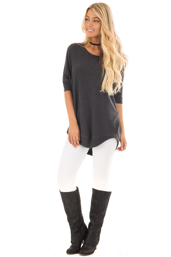 Charcoal Half Sleeve Dolman Sweater with Rounded Hem front full body