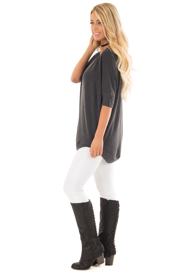 Charcoal Half Sleeve Dolman Sweater with Rounded Hem side full body