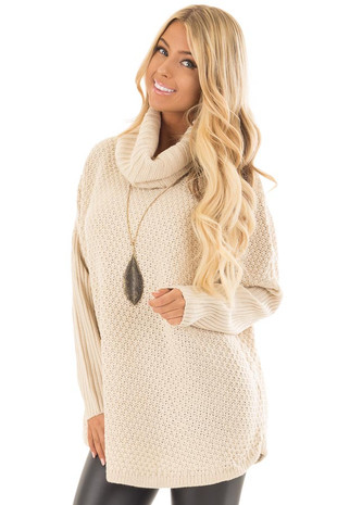 Beige Thick Sweater Cowl Neck Top with Long Sleeve Detail front close up
