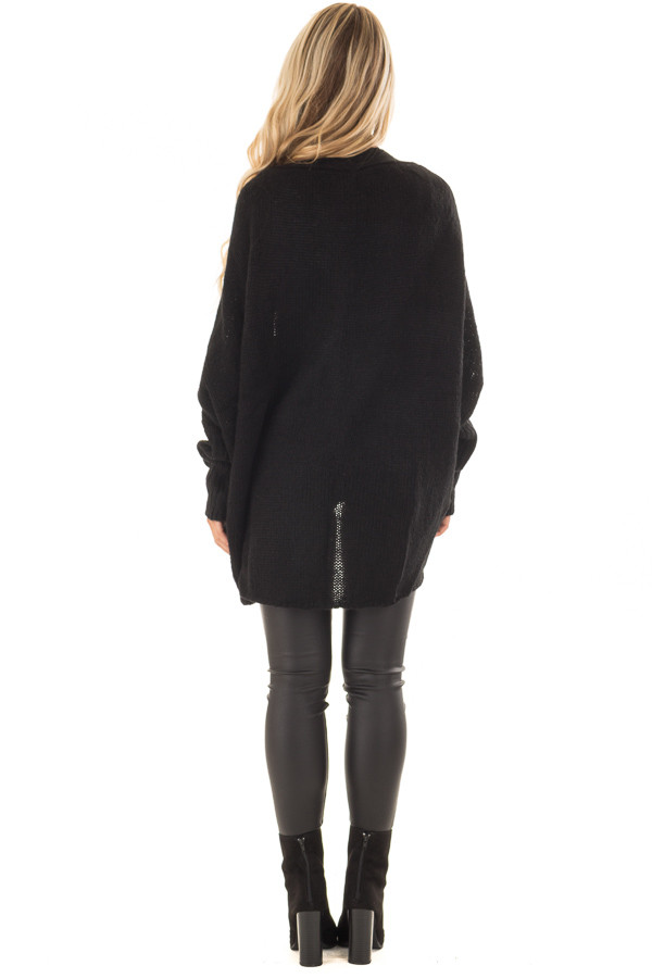 Black Knit Cardigan with Dolman Sleeves and Pockets back full body