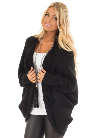 Black Knit Cardigan with Dolman Sleeves and Pockets front close up
