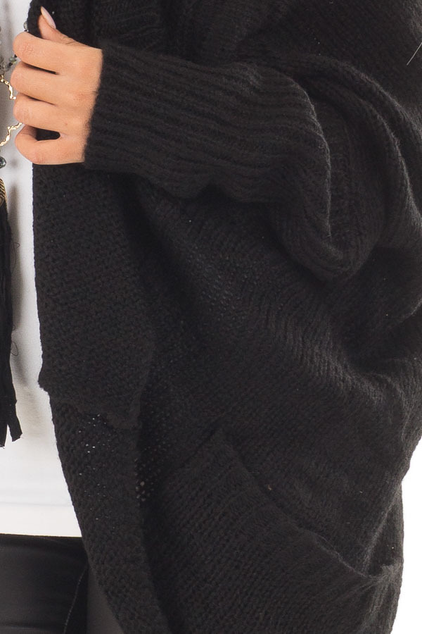Black Knit Cardigan with Dolman Sleeves and Pockets front detail