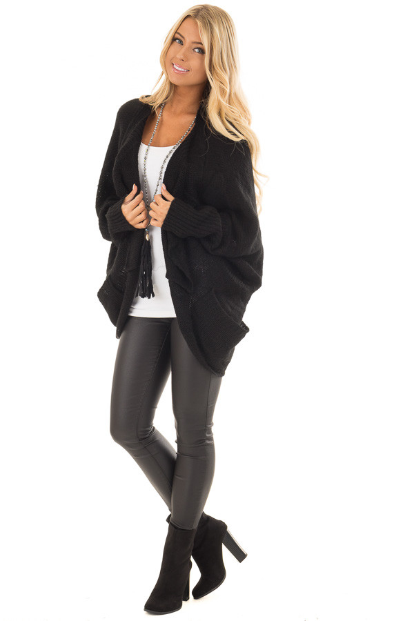 Black Knit Cardigan with Dolman Sleeves and Pockets front full body