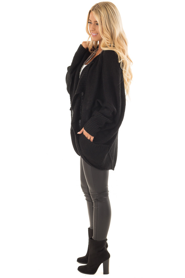 Black Knit Cardigan with Dolman Sleeves and Pockets side full body