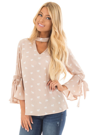 Taupe Mini Elephant Cut Out V Neck Top with Tie Sleeves front close up