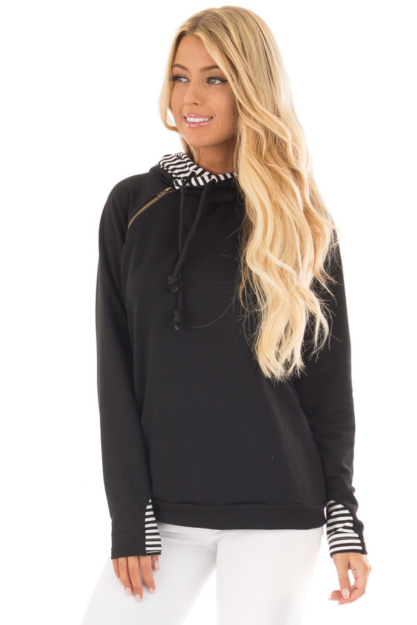 Black Pullover Hoodie with Striped Contrast Hood and Cuffs front close up