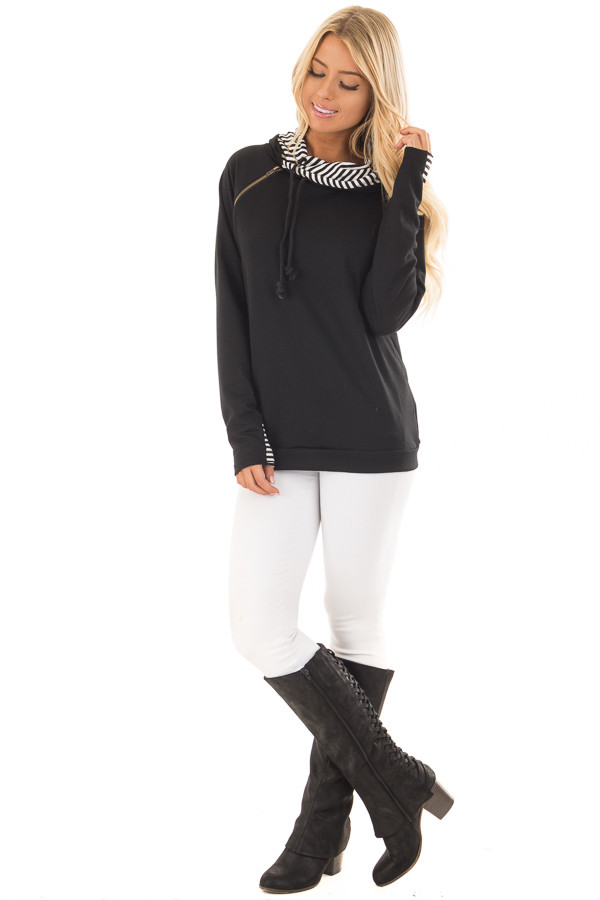 Black Pullover Hoodie with Striped Contrast Hood and Cuffs front full body
