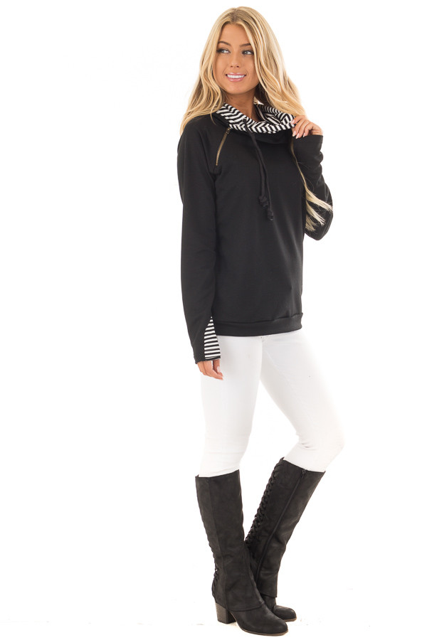 Black Pullover Hoodie with Striped Contrast Hood and Cuffs side full body