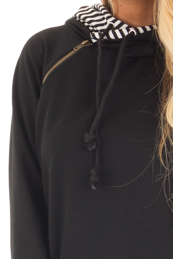Black Pullover Hoodie with Striped Contrast Hood and Cuffs detail