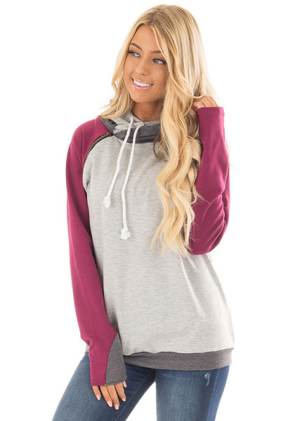 Grey Pullover Hoodie with Magenta and Charcoal Color Blocks front close up