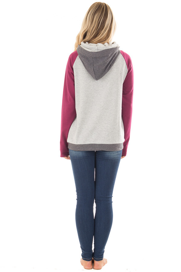 Grey Pullover Hoodie with Magenta and Charcoal Color Blocks back full body