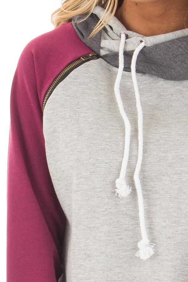 Grey Pullover Hoodie with Magenta and Charcoal Color Blocks detail