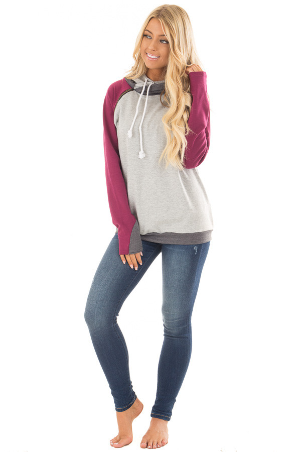 Grey Pullover Hoodie with Magenta and Charcoal Color Blocks front full body