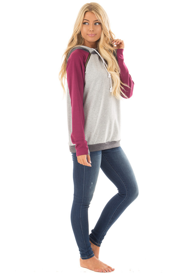 Grey Pullover Hoodie with Magenta and Charcoal Color Blocks side full body