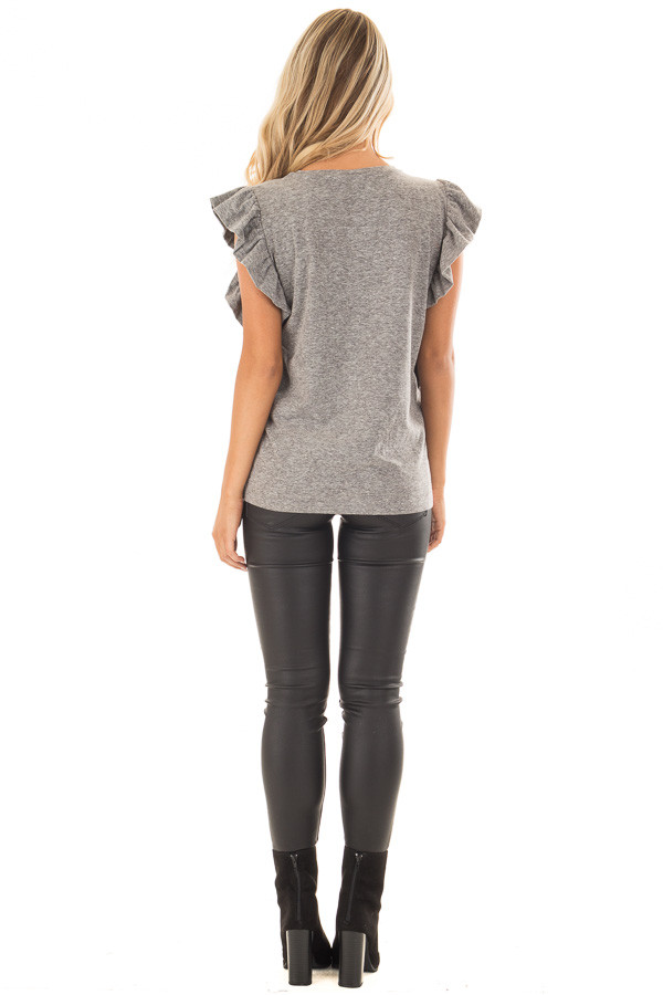 Ash Grey Ruffled Tee Shirt with Breast Pocket back full body