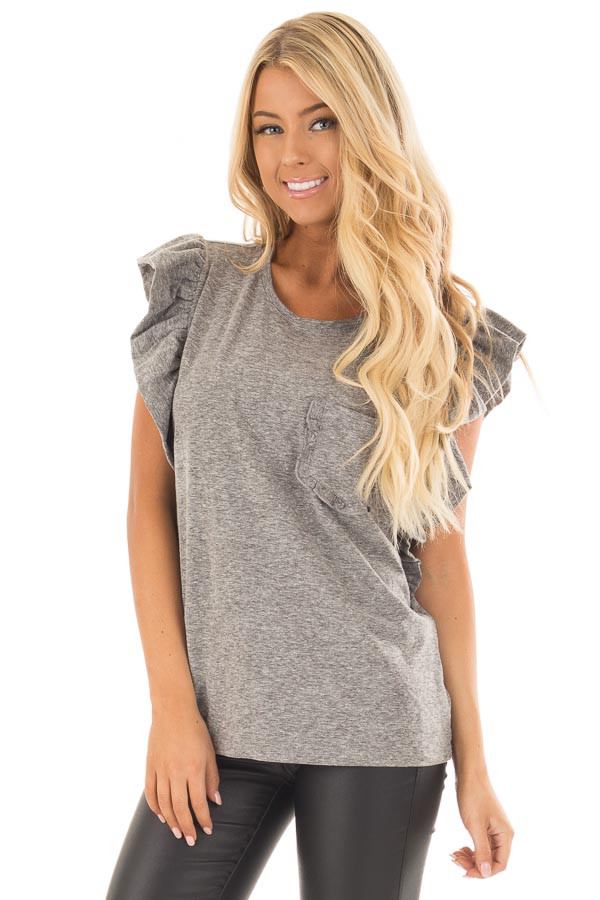 Ash Grey Ruffled Tee Shirt with Breast Pocket front close up