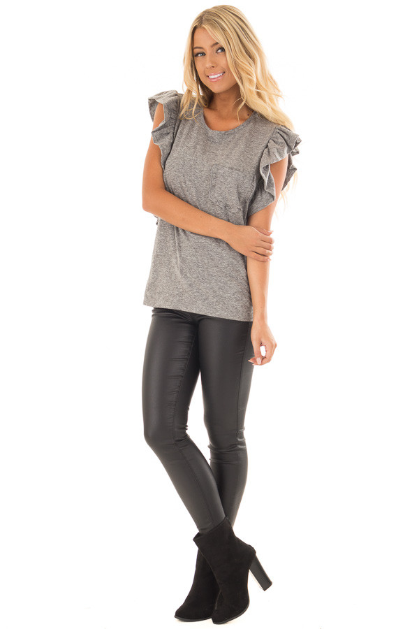 Ash Grey Ruffled Tee Shirt with Breast Pocket front full body