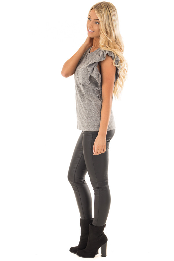 Ash Grey Ruffled Tee Shirt with Breast Pocket side full body