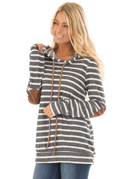 Charcoal Striped Hoodie with Faux Suede Elbow Patches front close up